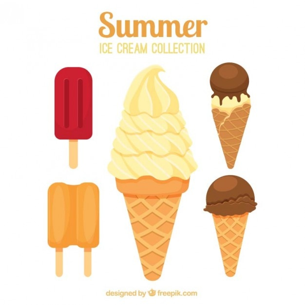 Delicious ice-cream with wafer Free Vector