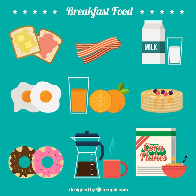 Delicious ingredients for breafast Free Vector
