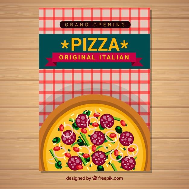 Delicious italian pizza brochure with salami