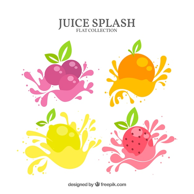 Delicious juice splashes collection with fruits Free Vector