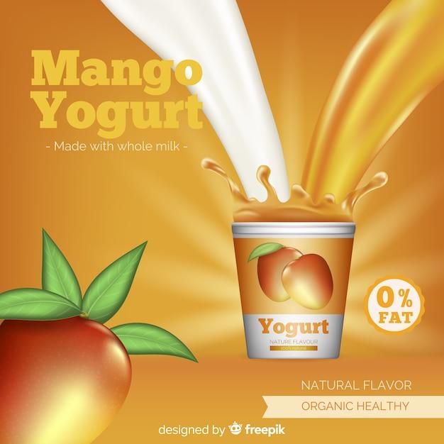 Delicious mango yogurt background Free Vector