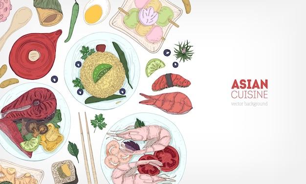 アジア料理と食品のおいしい食事 Premiumベクター