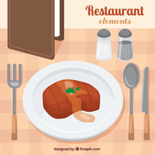 Delicious meat in a restaurant Free Vector