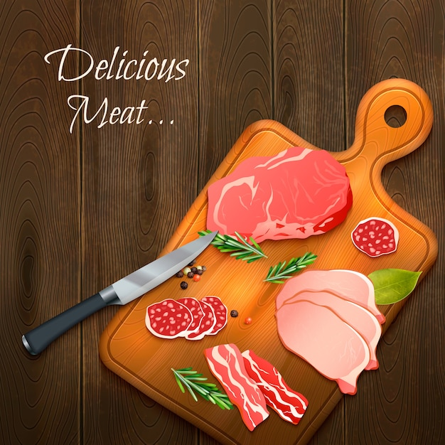 Delicious meat on wooden board Free Vector