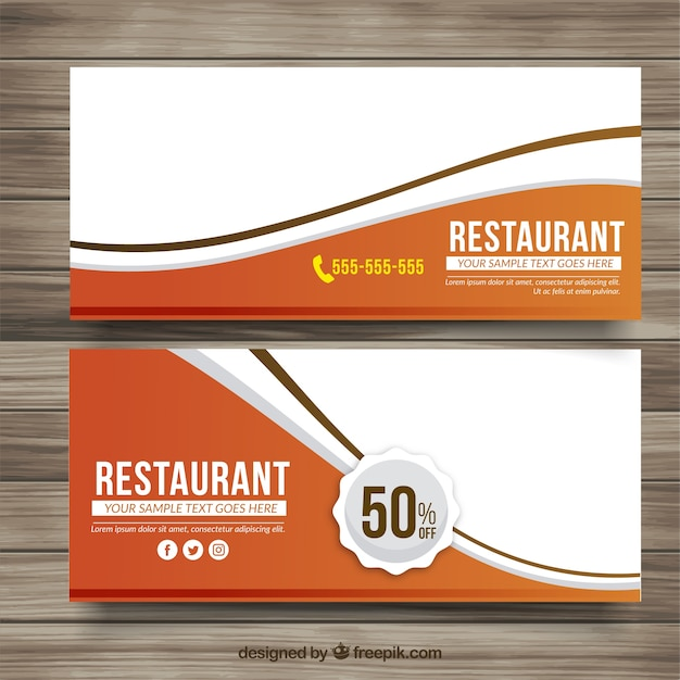 Delicious menu discount banners Free Vector