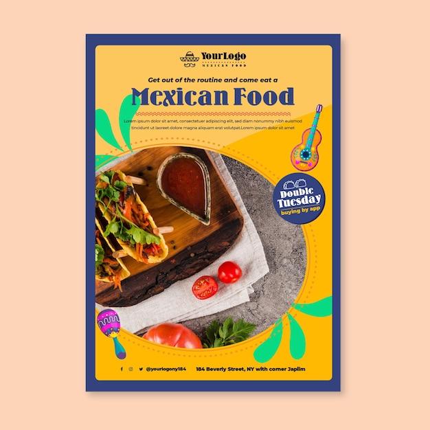 Modello di volantino delizioso cibo messicano Vettore gratuito