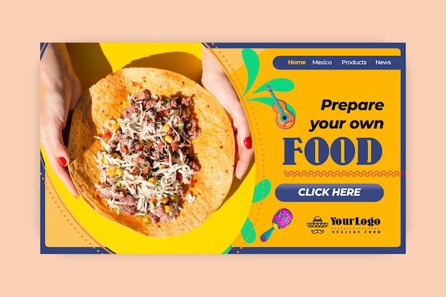 Pagina di destinazione del delizioso cibo messicano Vettore gratuito