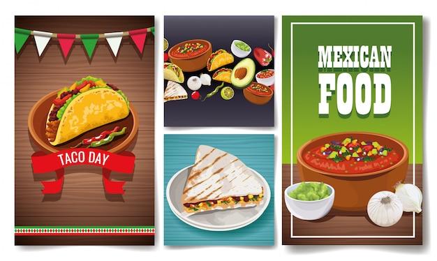 Delicious mexican food sets designs Premium Vector