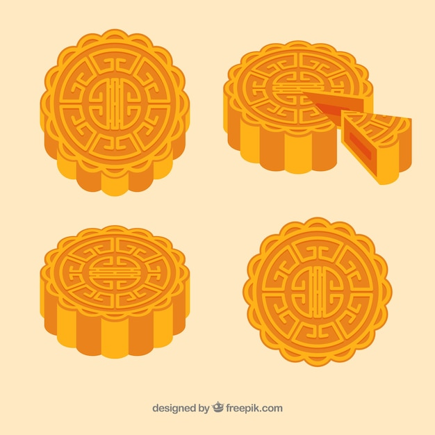 Delicious moon cake of mid autumn festival Free Vector