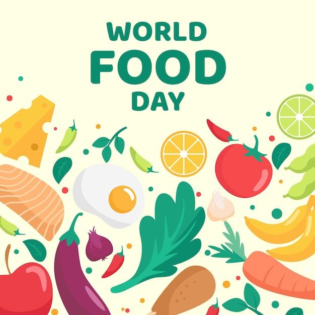 Delicious organic food world food day Premium Vector