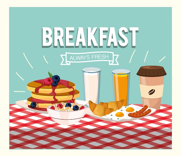 Delicious pancakes with orange juice and cereal Premium Vector