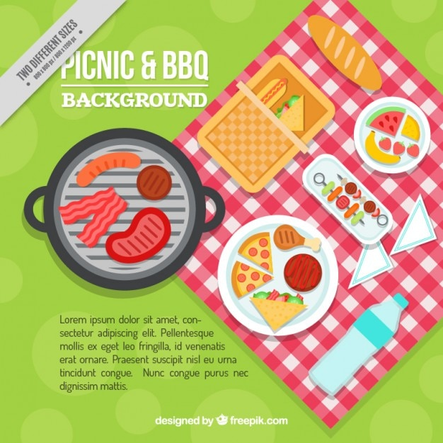 Delicious picnic and bbq in flat design\ background
