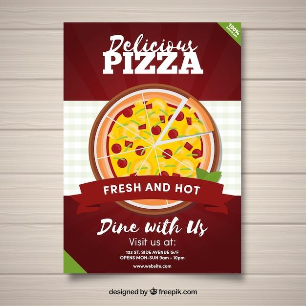 delicious pizza flyer vector free download