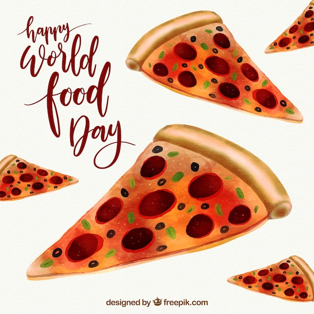 Delicious pizza slices on a world food day