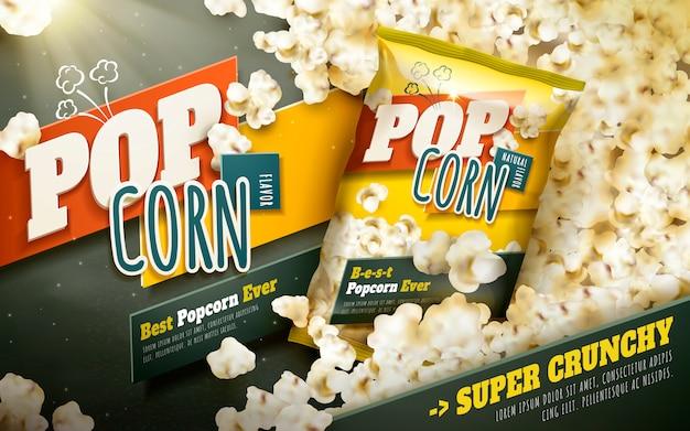 Вкусная реклама попкорна, рассыпанный попкорн в упаковке из фольги Premium векторы