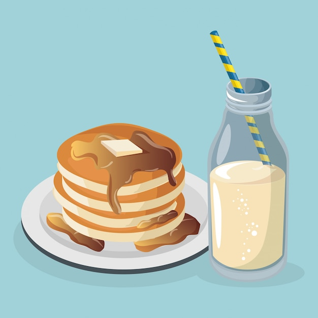 Delicious pudding with milk sweet Free Vector