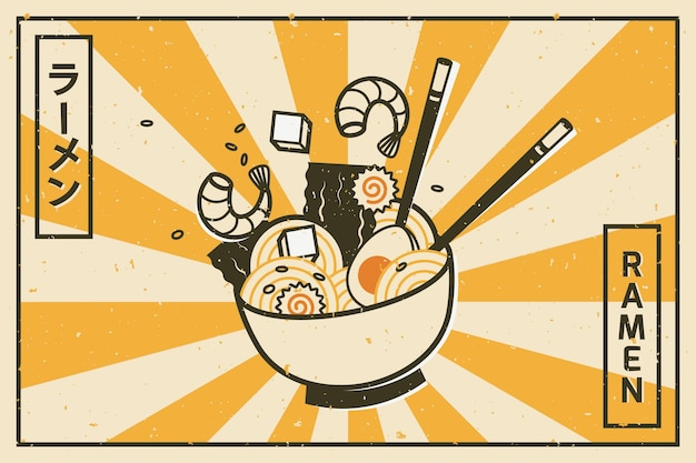 Delicious ramen soup background Free Vector