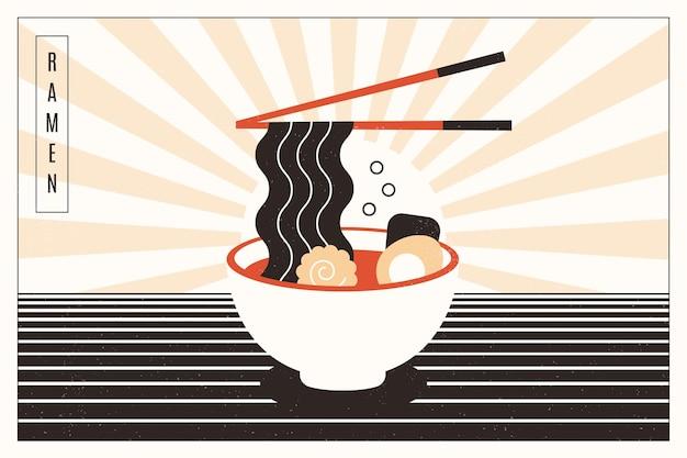 Delicious ramen soup in a bowl background Premium Vector
