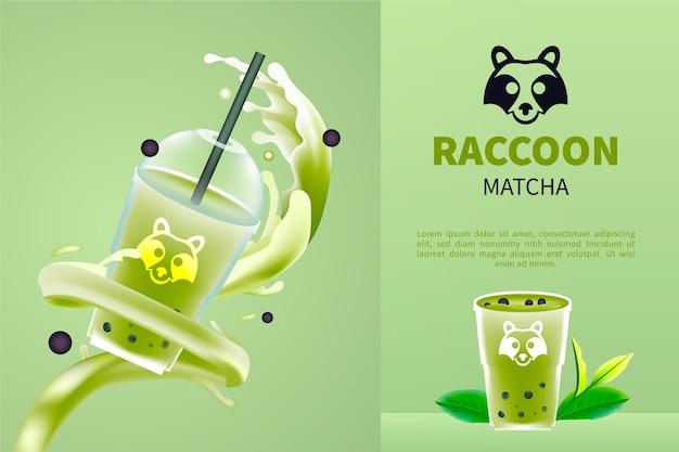 Delicious realistic matcha tea in plastic cup ad Free Vector
