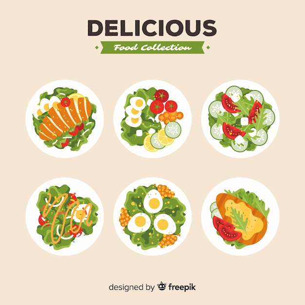 Delicious salad collection Free Vector