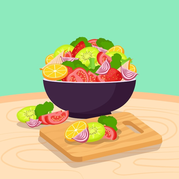 Delicious salad and fruit bowl illustrated Free Vector