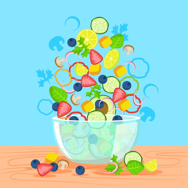 Delicious salad and fruit bowl Free Vector
