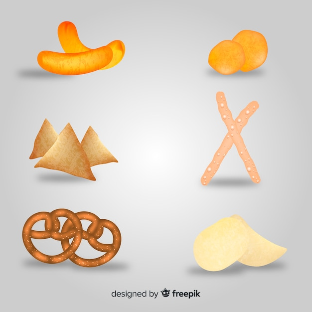 Delicious snack collection with realistic design Free Vector