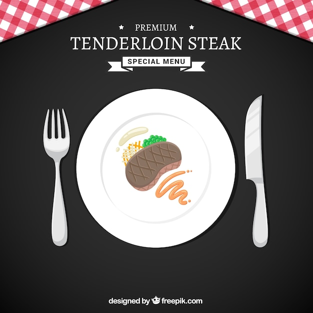Delicious steak on a dish background Free Vector