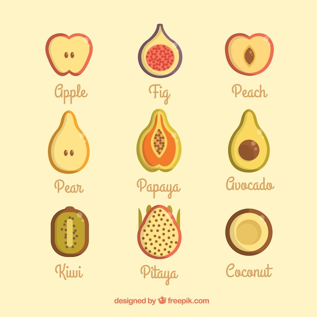 Вкусные фрукты летом Бесплатные векторы