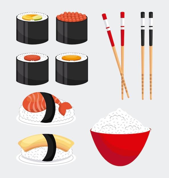 Delicious sushi Premium Vector