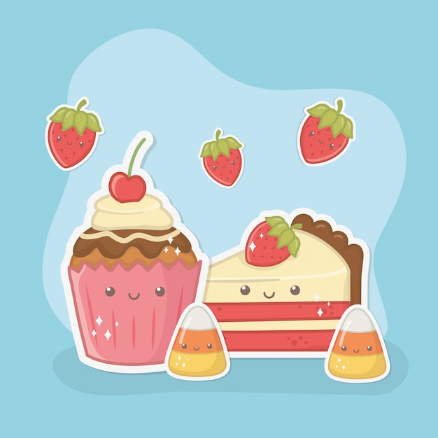 Delicious and sweet cupcake and products kawaii characters Free Vector