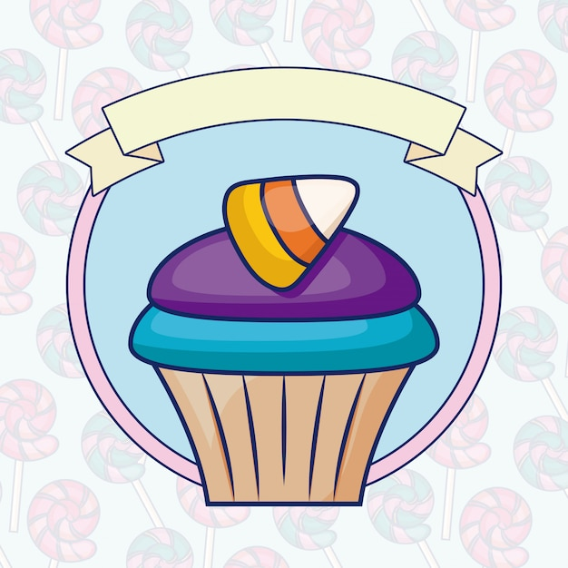 Delicious sweet cupcake with ribbon Free Vector