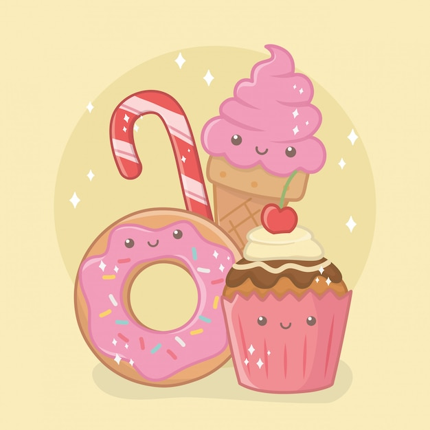 Delicious and sweet donut and products kawaii characters Free Vector