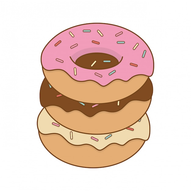 Delicious sweet donuts pastry product Premium Vector