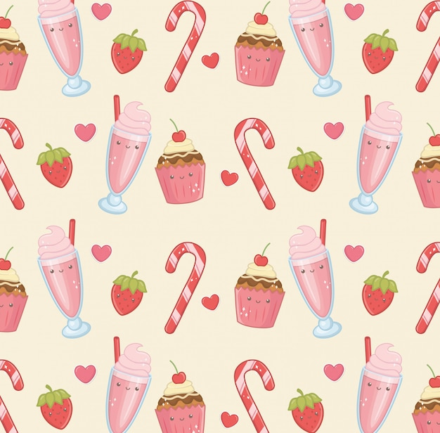 Delicious and sweet products kawaii characters pattern Free Vector