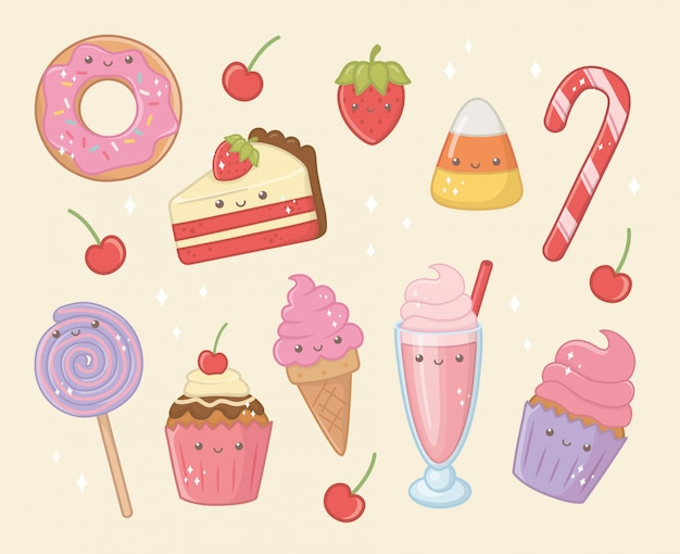 Delicious and sweet products kawaii characters Free Vector