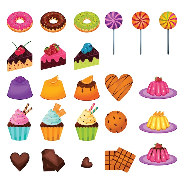 Delicious sweet snack food candy cake chocolate set Premium Vector