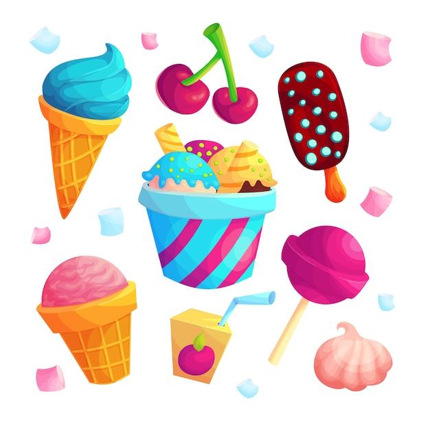 おいしいお菓子漫画ベクトルステッカーセット。アイスクリーム、キャンディ、ジュースアイコンのコレクション。子供向けのさわやかな夏のデザートバンドル。白い背景のおいしいお菓子。スクラップブックのパッチ Premiumベクター
