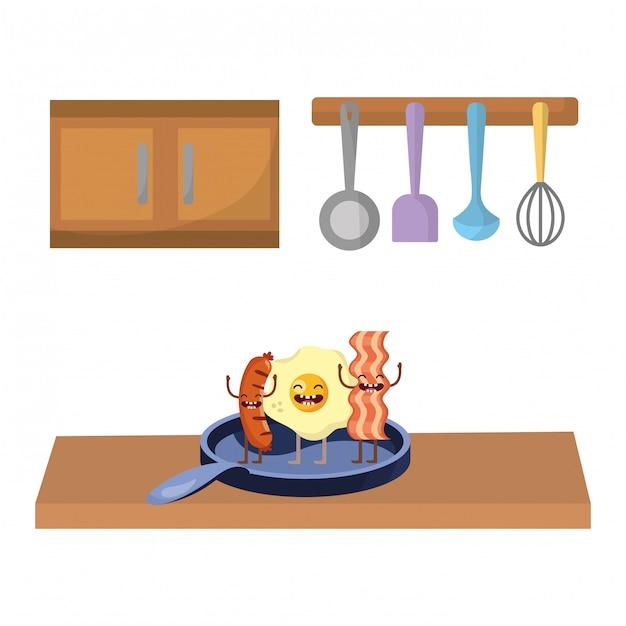Delicious tasty food cartoon Premium Vector