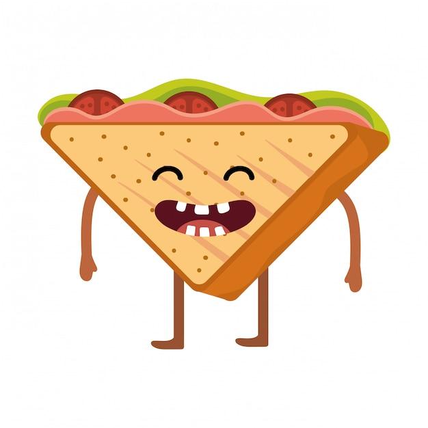 Delicious tasty sandwich cartoon Premium Vector