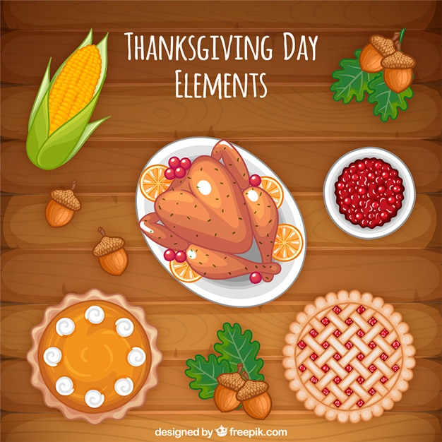 Delicious thanksgiving dinner with turkey and pastries Free Vector