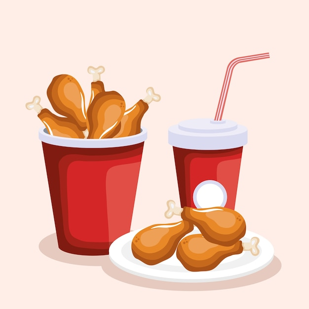 Delicious Thigh Chicken With Soda Fast Food Vector Premium Download