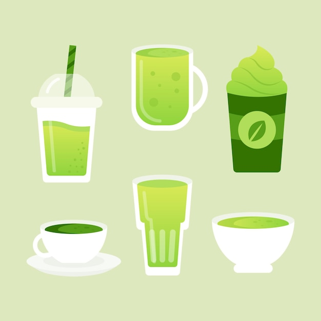 Delicious variety of green matcha tea Free Vector