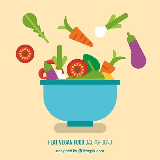 Delicious vegan salad in flat design background Free Vector