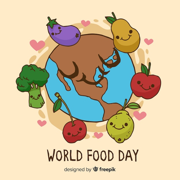 Delicious veggies menu on world food day Free Vector