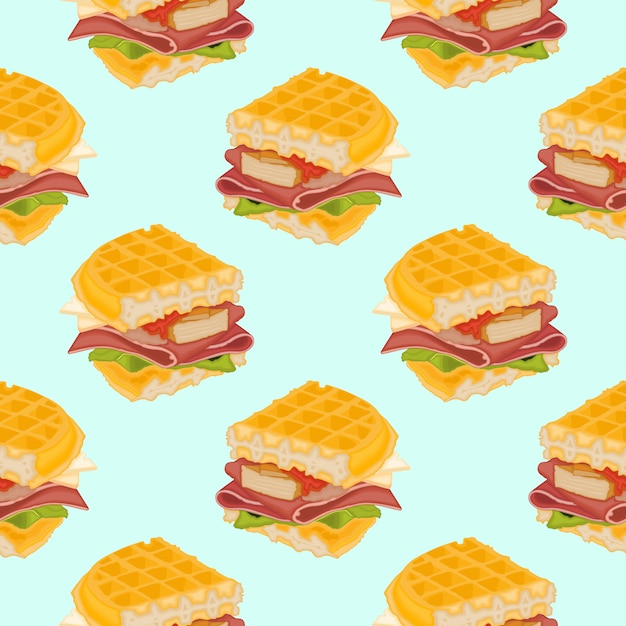 Вкусный вафельный сэндвич Premium векторы