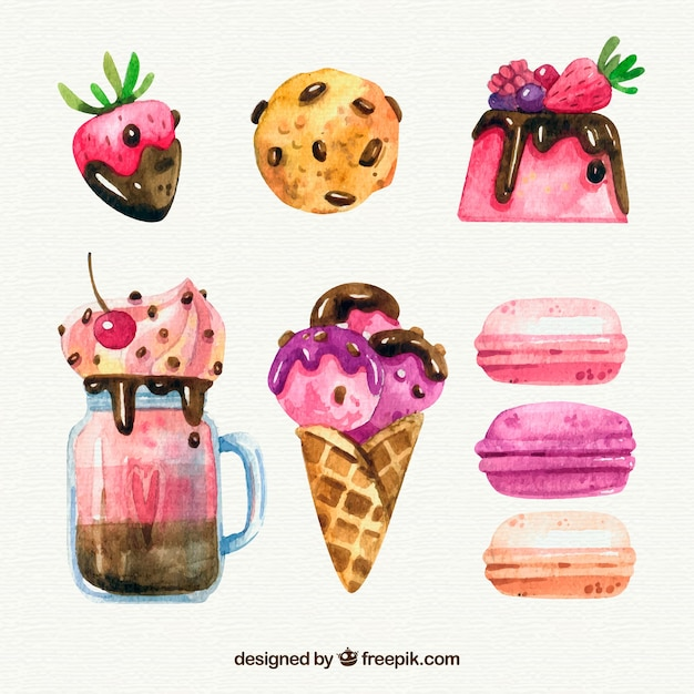 Delicious watercolor desserts set Free Vector