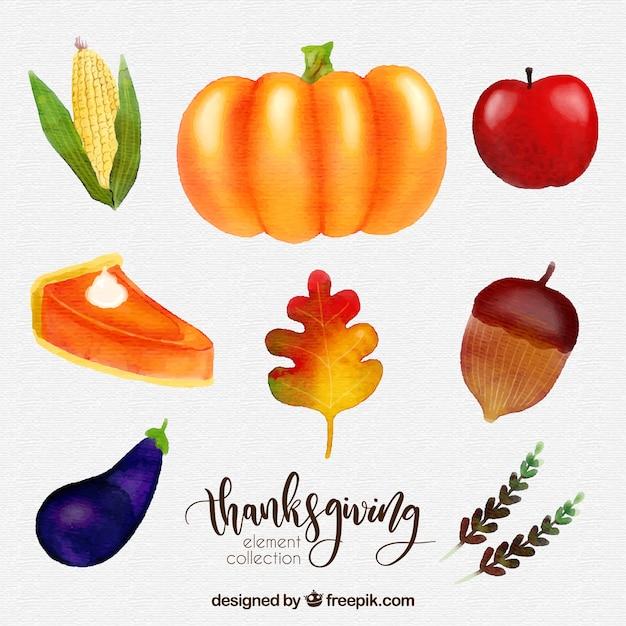 Delicious watercolor thanksgiving food\ set