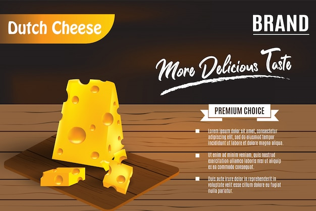 Delicious yellow cheese on wooden table for ads Premium Vector