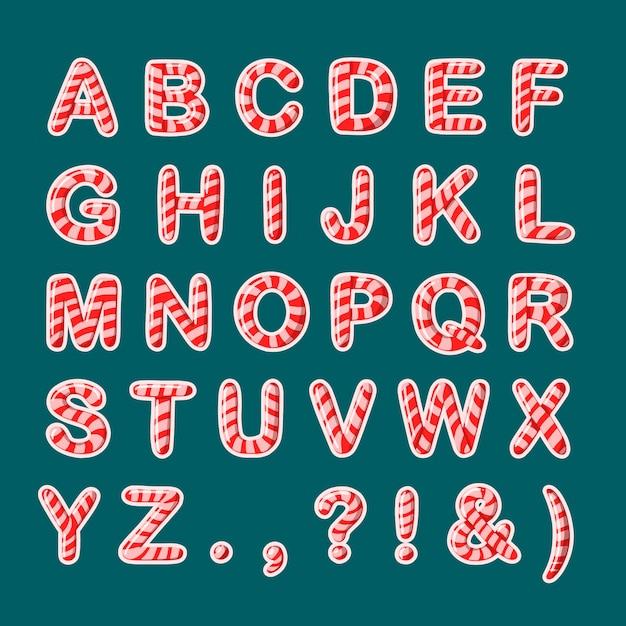 Delicious a to z alphabet of candy cane Free Vector